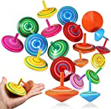 BESTZY Trottola in Legno, 30 Pezzi Mini Giroscopio in Legno Colorati Artigianali Set, Trottola Colorata Set Artigianale, Festa Compleanno Bimbi regalino fine Festa(Colore Casuale)