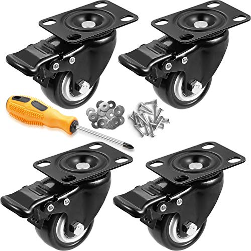 Orieta 2' Swivel Rubber Caster Wheels with Safety Dual Locking Heavy Duty 600lbs Casters Set of 4...