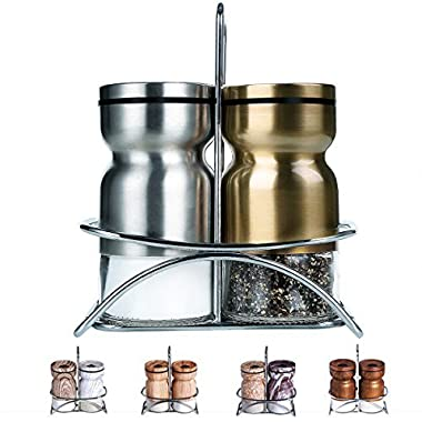 Salt and Pepper Shakers with Stand,GONGSHI Spice Shakers,Brushed Stainless Steel Encasing with Adjustable Pour Holes,Set of 2 (Silver and Gold)