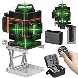 Kecheer Nivel láser 16 líneas 360 grados 2 baterias horizontal vertical con base giratoria,Nivelador laser autonivelante,Niveles laser verde profesionales con control remoto