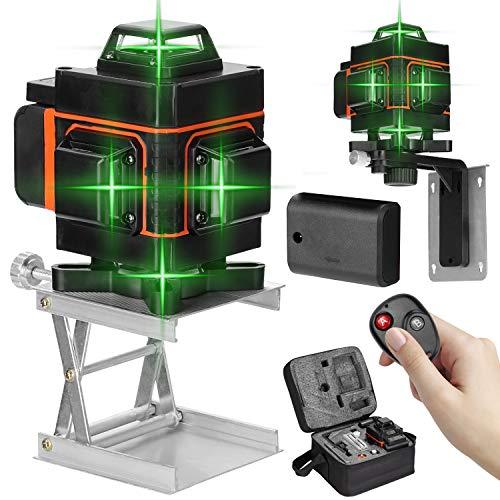 Nivel láser 16 líneas 360 grados horizontal vertical con base giratoria,Nivelador laser autonivelante,Niveles laser verde profesionales con control remoto (16 líneas 2 baterias)