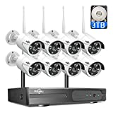 【3TB HDD Pre-Install 】 8 Channel HD 1080P Wireless IP Camera System/IP Security Camera System 8Pcs 2.0 Megapixel 1080P Wireless IR Bullet Camera,Indoor/Outdoor,WiFi 8CH Home Security System HisEEu