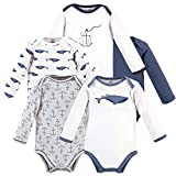 Touched by Nature Baby Organic Cotton Long-Sleeve Bodysuits, Blue Whale, 12-18 Months
