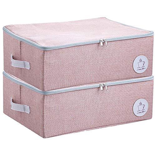 Bolsa de Almacenamiento, Cajas Almacenaje Ropa 2 Pcs, Organizador Debajo de la Cama de Gran Capacidad con Cremallera Robusta(rosado)