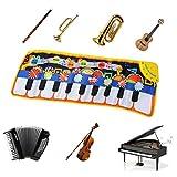 TIMESETL Kinder Musikmatte Musical Teppich, 110x36cm 8 Instrumente Musikteppich Musical Piano Matte Klaviermatte, Frühe Bildung Musik Spielteppich Matte für Kinder Spielzeug Geschenk -