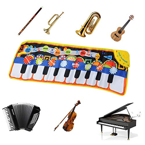 TIMESETL Alfombra de Piano, Alfombra Musical de Teclado 19 Teclas 110x36cm 8 Instrumentos Música de Educación Temprana para Niños Juguete de Infantil