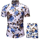 Men Hawaiian Shirt and Shorts Suit Floral 2 Piece Tracksuit Casual Button Down Short Sleeve Outfits White
