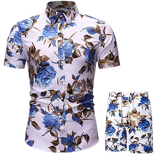 Mens Tracksuit Shirts & Shorts Stand-Up Collar Hawaiian Floral Printing Summer Beach Short Sleeve Pants Sets Outfits 2-Piece