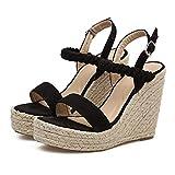 OverDose Sandales Espadrilles Compensées en Suède Femme Été Style Plateforme, Bride Cheville à Boucle Chic Bohème Talon Heels Bout Ouvert Chaussures