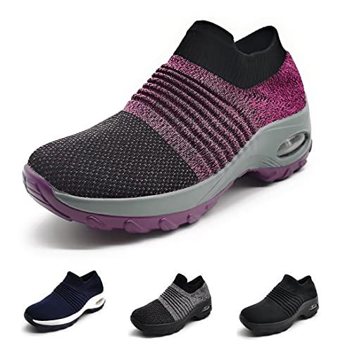 Zapatillas Deportivas Mujer Calcetin Elasticas sin Cordones Muy Comodas Transpirable Antideslizante para Correr Andar Trabajar Purple 39