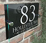 DECORATIVE PERSONALISED WALL PLAQUE DOOR NUMBER STREET GLASS EFFECT ACRYLIC ALUMINIUM NAME - White & Black
