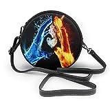 Bolso cruzado redondo para mujer, bolso de mano de fuego y hielo, con cremallera en el hombro, bolso cruzado y bolsos
