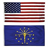 CollinsFlags US Flag with Indiana State Flag 3 x 5-100% American Made - Nylon