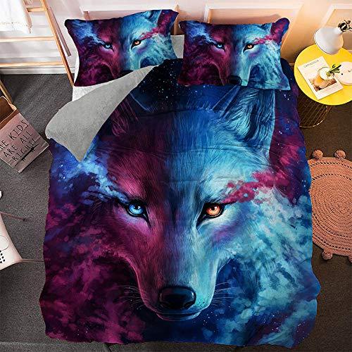 Gvvaceo 3D printed duvet cover, soft single double bed full size bedding, Super kingsize sets 260 x 230 cm simple bed sheet pillowcase bedding 3pcs + 2 Pillowcase 50 X 75 cm Creative cartoon