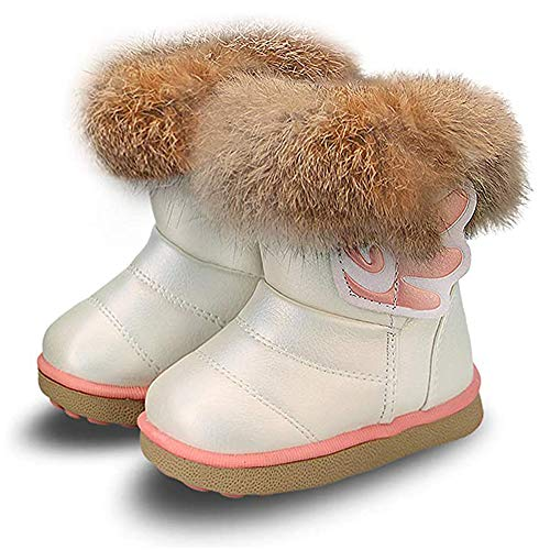 Baby Girls' Booties Baby Girls' Snow Boots, Warm Lining Soft Winter Shoes for Outdoor Indoor Weiß mit Flügel28