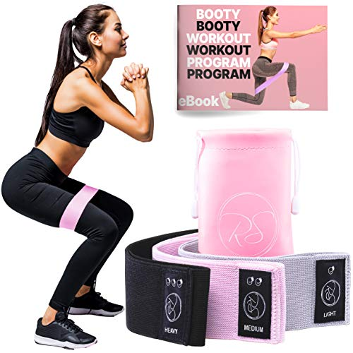 Ruby Stretch Fabric Resistance Bands for Women - Cloth Resistance Bands Set of 3, Glute Thigh Bands for Workout, Leg Resistance Bands Fabric, Loop Leg Bands and Booty Training