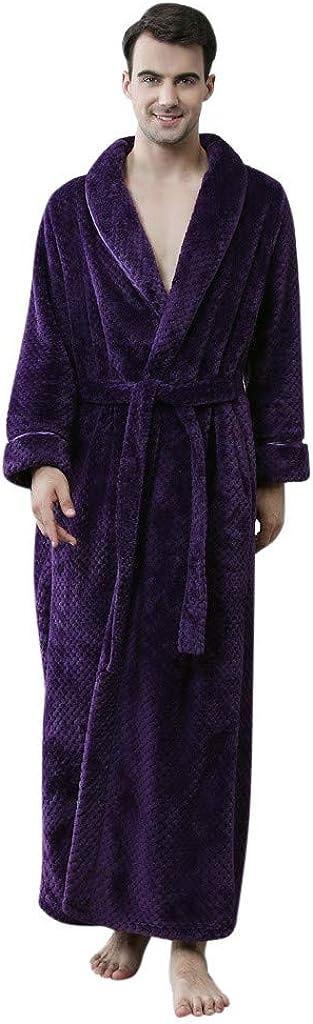 ZSBAYU Mens Robe Long Fleece Bathrobe Warm Waist Belt Super Soft Spa Plush Full Length Bath Robe with Shawl Collar