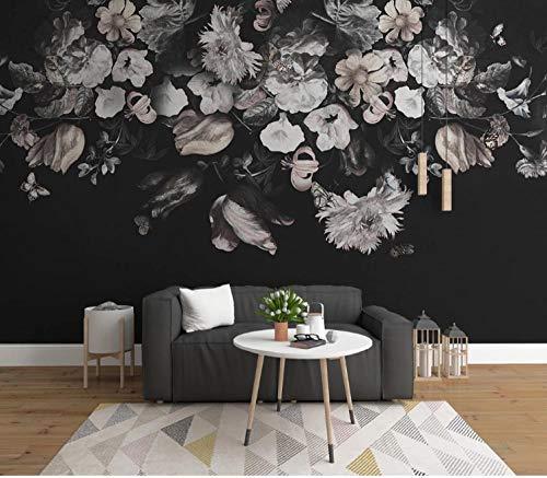 Fototapete 3D Effekt Wand Dekoration Vlies 200X140Cm Tapete Moderne Wanddeko Wandbilder Weißer Schwarzer Blumenhintergrund