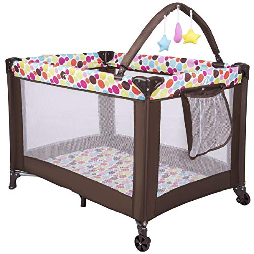 GYMAX Travel Cot, Portable Baby Playpen with Folding Mattress, Whirling Toys, Pocket, Wheels and Carry Bag, Bassinet Bed from Birth to 30kg