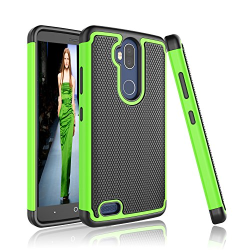 ZTE Blade Max 3 Case, Tinysaturn [YSaturn Series] [Green] Hybrid Shock Absorbing Dual Rubber Plastic Defender Bumper Rugged Hard [Drop Protection] Cover Cases for ZTE Blade Max 3 /Z986DL / Z986U