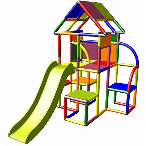move and stic Lina großer Spielturm / Spielhaus Kletterturm mit Rutsche für Kleinkinder (7 Farben Multicolor)