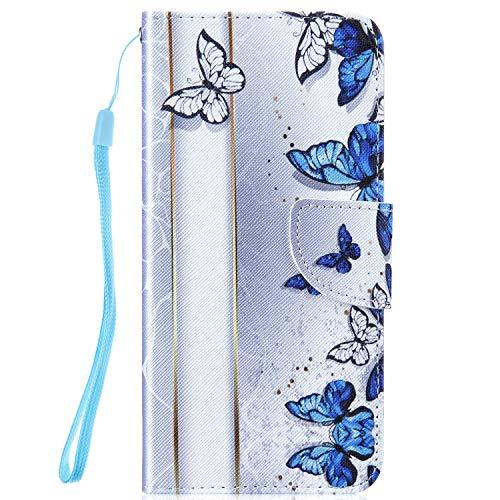 Hpory Kompatibel mit Galaxy S10 Hülle, Samsung Galaxy S10 Handyhülle Foto Muster PU Leder mit Handschlaufe Standfunktion Geldbörse Wallet Case Flip Cover Schutzhülle Etui Ledertasche - Blau Butterfly