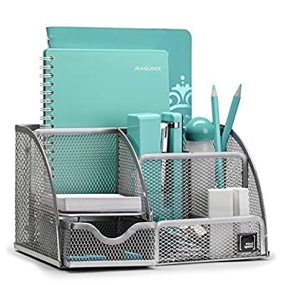 Mindspace Office Desk Organizer with 6 Compartments + Drawer | The Mesh Collection