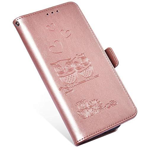 QPOLLY Kompatibel mit Samsung Galaxy S10 Plus Hülle Klappbar Ledertasche,Premium PU Leder Handytasche Brieftasche-Stil Magnet Handyhülle für Galaxy S10 Plus mit Kartenhalter Standfunktion,Roségold