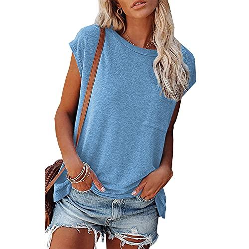 Camiseta De Color SóLido para Mujer, Camiseta De Bolsillo, Camiseta Informal De Verano con Cuello Redondo, Camiseta Holgada De Manga Corta para Mujer, Camisetas Suaves para Mujer