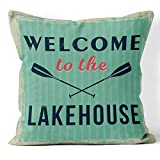 DECOPOW Welcome Lakehouse Decorative Throw Pillow Cover,Lake House Decor Cover Square 18X18 Inches