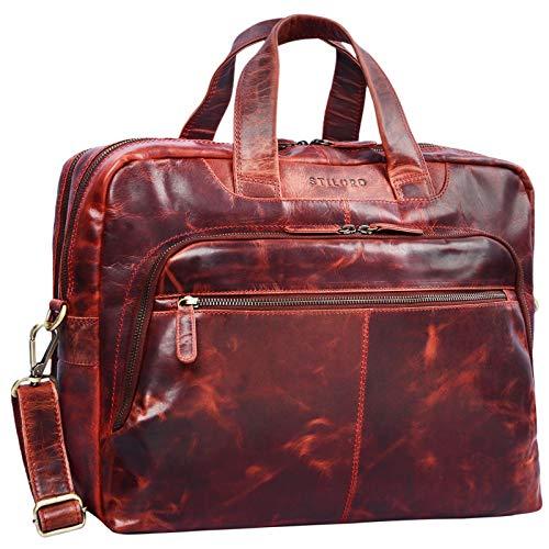STILORD 'Lias' Umhängetasche Leder Herren Vintage 15,6 Zoll Businesstasche Laptoptasche groß Arbeit Büro Uni Antik Leder, Farbe:Kara - rot