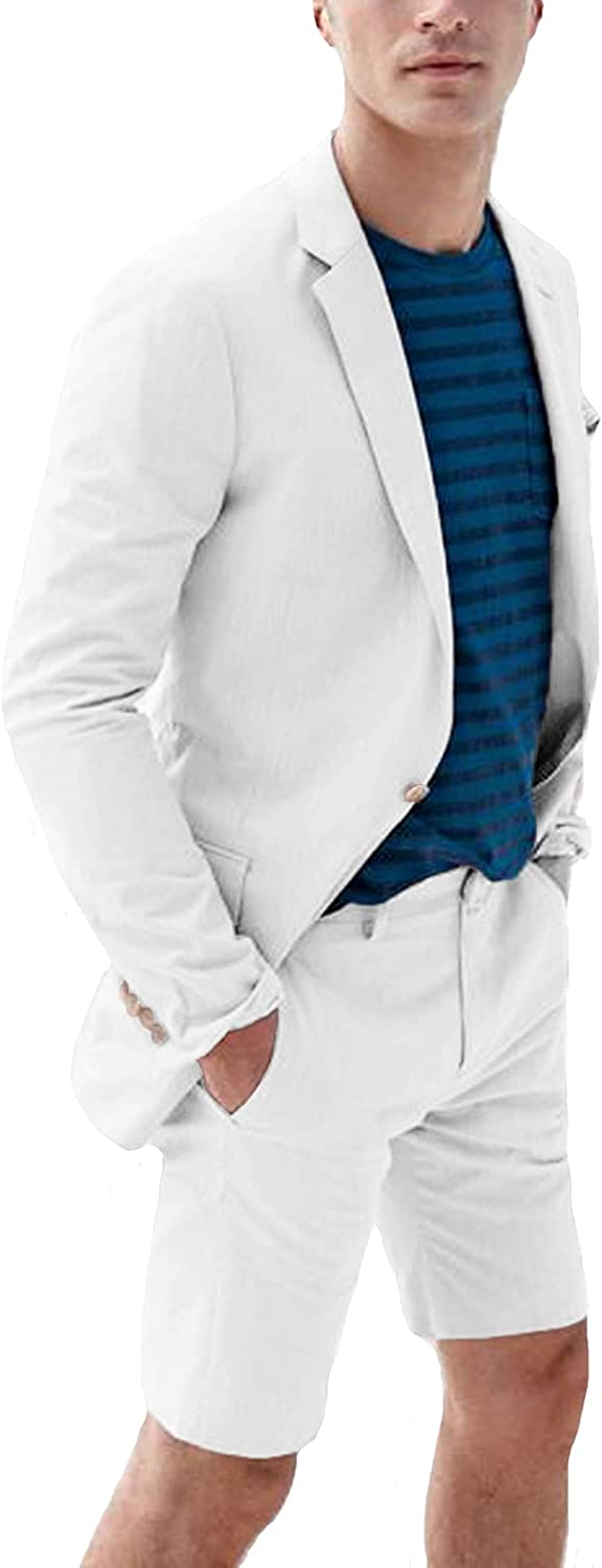 Everbeauty 2021 Linen Suits for Men 2 Piece with Shorts for Beach Wedding Apparel for Party EXZ021