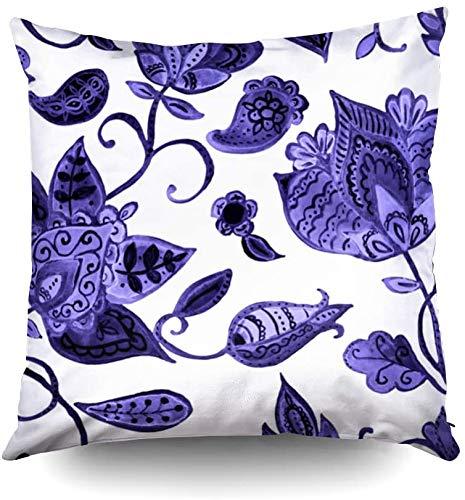 Funda de almohada de 40,6 x 40,6 cm, dibujada a mano, patrón de flores sin costuras, patrón colorido sin costuras con tulipanes abstractos lila, cachemira, orquídea, lirio de loto y hojas en blanco