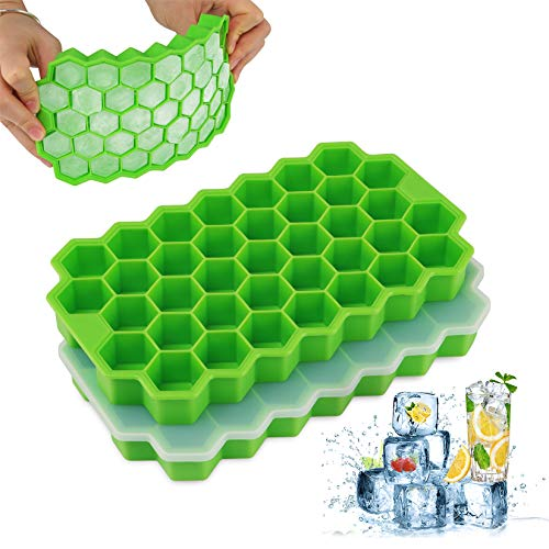 LOSLANDIFEN Ice Cube Trays 2 Pack, Silicone Ice Cube Molds with Removable Lid, Stackable Flexible and Dishwasher Safe Free with Ice Cube Molds for Chilled Drinks, Whiskey & Cocktails