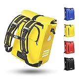 Bolsa de bicicleta para portaequipajes 3 en 1, adecuada como bolsa portaequipajes, mochila y bandolera, 100 % resistente al agua, 25 l, con 4 reflectores y asa para ir de compras, ciclismo