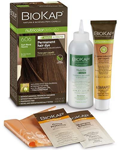 BioKap Dunkelblond Havana 6.06 Rapid Haarfarbe 135 ml - wirkt in nur 10 Minuten permanente, vegane & natürlich pflegende Formel für empfindliche Haut geeignet