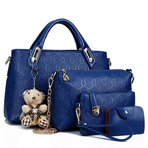 N/D FGXY 4 Bolsos De Piel Para Mujer Bandolera, Bolso De Cuero De La PU De La Manera, Bolso De Las señoras De La Moda, Señoras Personalidad Bolsa De Cosméticos 4 Unidades Set (Azul)