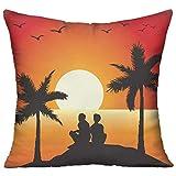 FPDecor Polyester Zierkissen,Hawaii Romance Couple,Pillow Covers Decorative Pillowcase Cushion...