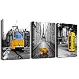 Black and white landscape Eiffel Tower wall decorations for living room 3 piece canvas wall art for bedroom modern kitchen Bathroom wall decor office home decor yellow theme pictures canvas prints