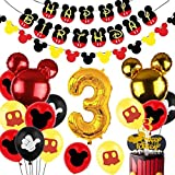 Mickey 3rd Birthday Decorations Boys Mickey 3 Years Old Birthday Party Supplies with Number 3 Foil Balloons Birthday Banner Garland