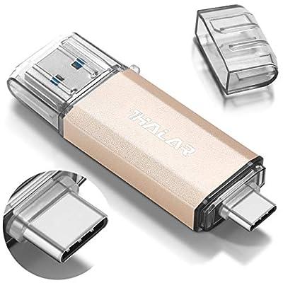 THKAILAR 64GB USB-C Flash Drive High Speed USB 3.0 Thumb Drive C for Music/TV/Video/External Storage Data, Pen Drive Memory Stick for Smartphones/PC/Galaxy/MacBook Pro (64GB, Gold)
