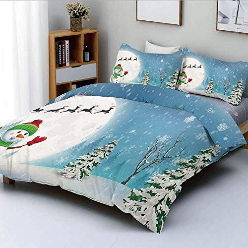 Duvet Cover Set,Jolly Snowman Under Full Moon Waving to Santa Reindeer Sleigh Kids Decorative 3 Piece Bedding Set with 2 Pillow Sham,White Blue,Best Gift for Kids & Adult