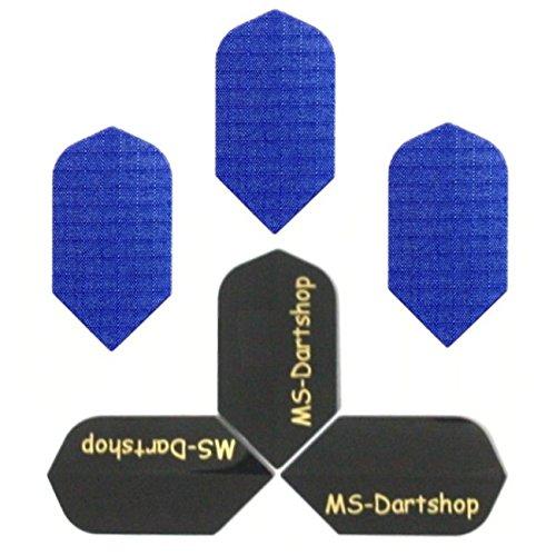 MS-DARTSHOP Dart-Flights Nylon Slim, 3 Sätze = 9 Stück, incl. 1 Satz MS-DARTSHOP Flights (Blau)