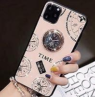 iPhone11ケース TIME 時計柄 iPhoneケース 落下防止 リング付 360度回転 おしゃれ アイホンケース スタンド イレブン 11 iPhoneケース 6.1インチ iPhone11ケース アイフォンイレブンケース iPhone11 アイフォンイレブン アイフォン11 耐衝撃 クロックデザイン アンティーク 韓国 ファッション オルチャン 韓流 携帯ケース 海外 アイフォンケース バンカーリング 携帯ケース 一体型 海外 スタンドリング付き キラキラ 時計 スマホケース オシャレ アイフォン アイホン 背面 カバー スマホリング付きケース iPhoneリング付ケース ストラップホール付き マグネット車載ホルダー リング スマホリング マグネット レディース スマホケース ハード 時計デザイン 女子 女性 可愛い かわいい 韓国風 カワイイ ペア お洒落 インスタ映え ロゴ タイム (iPhone11, ピンク)