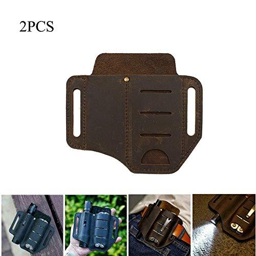 PU Leder Multitool Halter, Essential Organizer Gürteltasche, Leder Multitool Halter Tasche, Stifte Aufbewahrungstasche Für Den Außenbereich (Braun,2PCS)