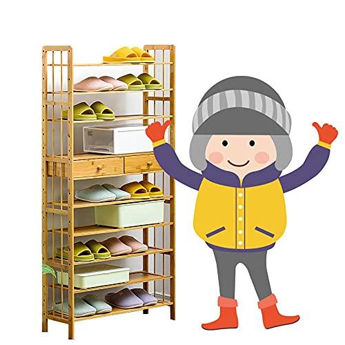 Yirunfa Estantería para Zapatos de 10 Niveles, Zapatero de Bambú Multiuso con 2 cajones, Alta Capacidad Soporte para Plantas, para Entrada, Baño, Cocina 70 * 25 * 156CM