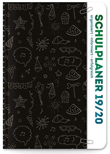 Schulplaner 2018/2019 Schülerplaner Schülerkalender SCHWARZ: Ringbindung, Folienumschlag mit Tasche, Sticker bei Stundenplanwechsel