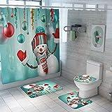 Pretty Comy Weihnachtliches Duschvorhang-Set, Weihnachts-Baddekorationsset, 4-teilig, Weihnachtsmann, Schneemann, Weihnachts-Duschvorhang, WC-Sitzbezug, Teppiche Badezimmer-Dekor