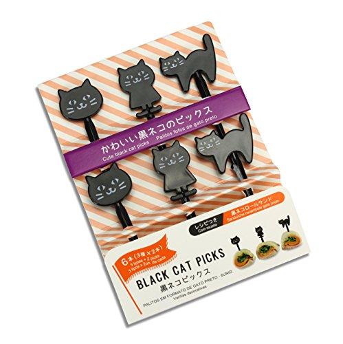 S??e Japanische Lebensmittel Picks f?r Kinder Bento Box Lunch???Schwarz Katzen Halloween