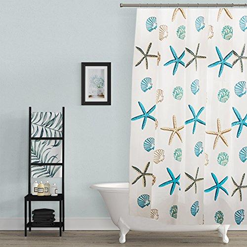 BSTT Cortinas de Ducha antimoho y Lavables PEVA Estrella de mar Cortina de baño Decorativa para el hogar y el Hotel 180 x 240 cm